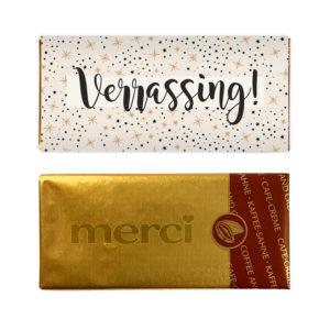 Verrassing merci chocolade mini reep bedankjes