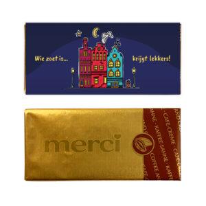 Sinterklaas chocolade Merci mini reep met huisjes