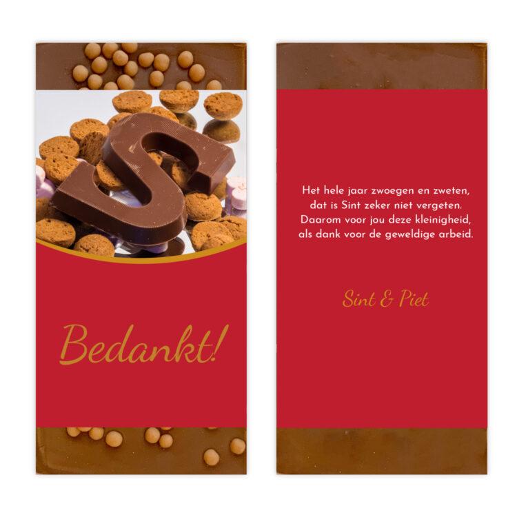 Luxe ambachtelijke chocolade sinterklaas letter bedankjes