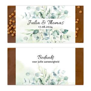 Luxe bruiloft ambachtelijke chocolade bedankjes