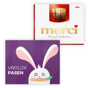 fijne pasen kaart met chocolade