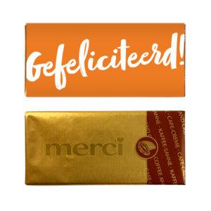 Gefeliciteerd chocolade bedankje mini reep