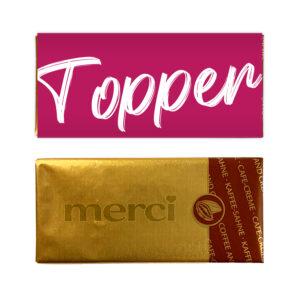 Topper chocolade bedankje mini reep