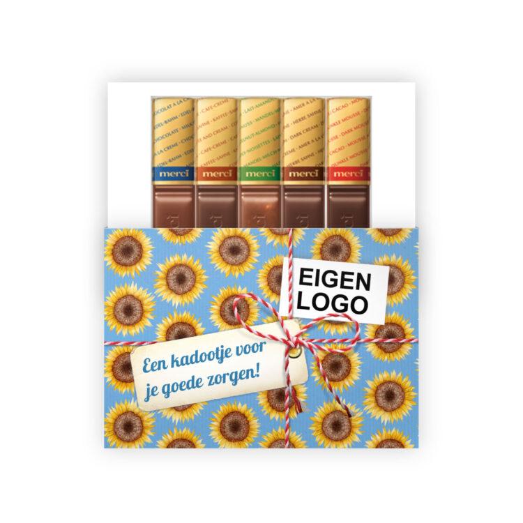 zonnebloem chocolade bedankje collega
